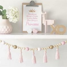 Lovely Tassels Wooden Beads Chain Home Wall Decoration - Allochild Playroom Wall Decor, Playroom Organization, Baby Room Decor, Baby Bedroom, Kids Bedroom, Bedroom Decor, Wood Bead Garland, Tassel Garland, Tassels