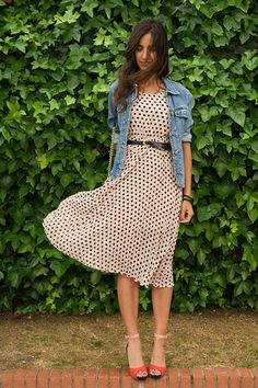 belted polka dot dress / denim jacket / bright sandal heels