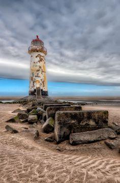 Abandoned lighthouse at Point of Ayre, Talacre Beach, Flintshire, North Wales, UK #lighthouses #lighthouse #UK #Abandoned #wales