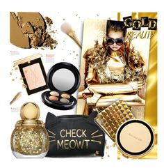 """GOLD BEAUTY"" by stacey-lynne ❤ liked on Polyvore featuring beauty, Yves Saint Laurent, MAC Cosmetics, Kate Spade and Christian Dior"
