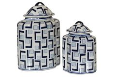 John Richard, Set of 2 L'S and Squares B and W Lidded Jars, Decorative Vase, Decorative Vase, Blue and White Jar Lids, Jars, Tile Art, Vases Decor, One Kings Lane, Home Accents, Accent Decor, Pattern Design, Blue And White