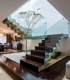 Stairs, hallways and stairs modern staircase of modern studio Home Stairs Design, Interior Stairs, Modern House Design, Room Interior, Interior Design, Interior Ideas, Studio Interior, Modern Houses, Contemporary Stairs