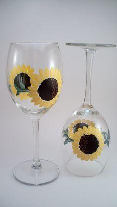 Sunflower hand painted wine glasses