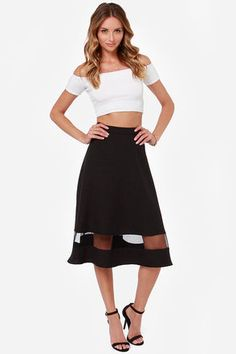 Perfect date night outfit - Asphalt Runway Black Midi Skirt at Lulus.com