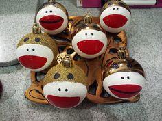 Homemade Sock Monkey Ornaments.   I made them for my Sock Monkey Christmas tree.