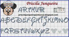 Monograma mickey - Priscila Junqueira - ponto cruz