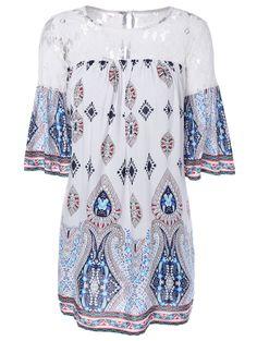 Openwork Tribal Print Lace Spliced Smock Dress