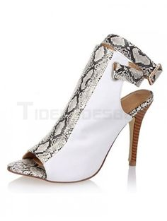 Stylish Gray Peep Toe Spike Heel Snake Print PU Leather Woman's High Heels