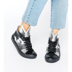 Minna Parikka Thunderball Black & Silver Glitter Hi Top Trainers ($135) ❤ liked on Polyvore featuring shoes, sneakers, multi, skate shoes high tops, metallic sneakers, lace up wedge sneakers, high-top sneakers and metallic high top sneakers
