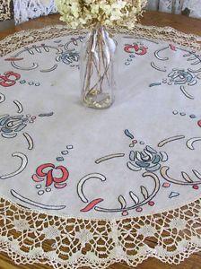 Lg Antique Arts Crafts Art Nouveau Embroidered Linen Centerpiece 38 Movement Pinterest And