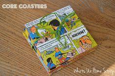 Simple handmade Christmas gifts, DIY Cork coasters, vintage comic coasters