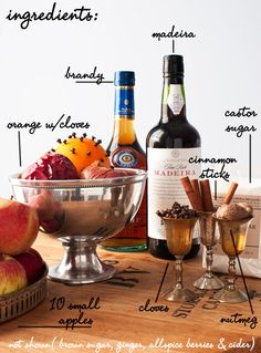 Wassail Ingredients (Serves 15-20): 10 very small apples 1 large orange stuck with whole cloves 10 teaspoons brown sugar 2 bottles dry sherry or dry Madeira ½ teaspoon grated nutmeg 1 teaspoon ground ginger 3 cloves 3 allspice berries 2 or 3 cinnamon sticks 2 cups castor sugar 12 to 20 pints of cider according to the number of guests 1 cup (or heck, make it two) brandy