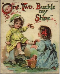 """""""One, Two, Buckle my Shoe"""" ~ Father Tuck's Little Pets series illustrated by M. Bowley."""
