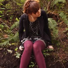 like the black and white solid + polka dot + plaid with a pop of color in the tights