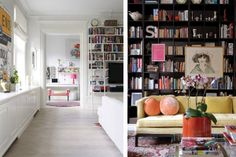 This sofa in front of the bookcases makes me want to curl up and grab something to read.