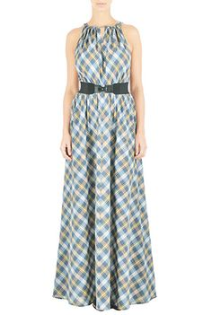I <3 this Cotton check elastic belted maxi dress from eShakti ---- $40 off: https://www.talkable.com/x/T4de6Y ----