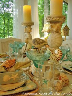 Beach and Nautical Themed Table Settings | http://betweennapsontheporch.net/beach-nautical-themed-table-settings/