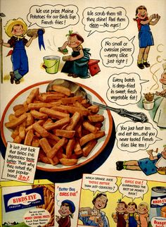 1920s Food Advertisements Bird's Eye | vintage 1951 advertisement french fries birds by FrenchFrouFrou