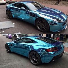 Custom chrome turquoise Aston Martin