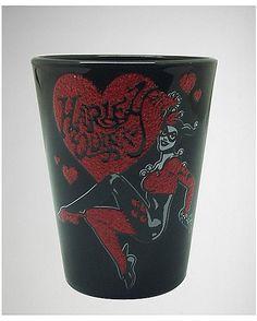 Harley Quinn Glitter Shot Glass 2 oz - Spencer's