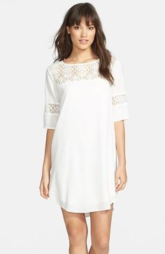 BB Dakota 'Devera' Lace Inset Chiffon Shift Dress available at #Nordstrom