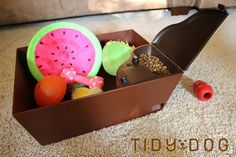 The Tidy Dog - A smart dog toy bin. Toys go in, treats come out!