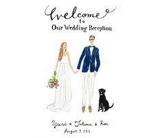 「ILLUST Welcome Board - L」イラストウェルカムボード (Lサイズ) - Cui Cui ONLINESHOP Starry Wedding, Wedding Art, Wedding Paper, Wedding Images, Wedding Designs, Our Wedding, Wedding Entrance, Wedding Signage, Wedding Programs