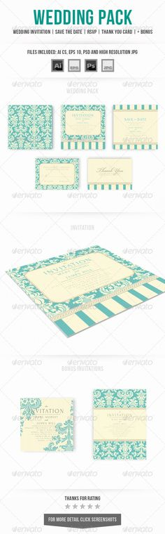 Wedding Invitation Set — Photoshop PSD #victorian #wedding • Available here → https://graphicriver.net/item/wedding-invitation-set/7040388?ref=pxcr