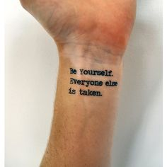 Individuality Quote Temporary Tattoo, Oscar Wilde Be Yourself Quote,... ($2.21) ❤ liked on Polyvore featuring accessories, body art and tattoo
