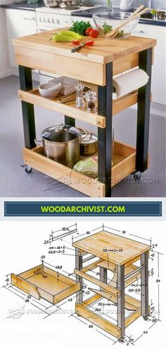 Kitchen Cart Plans - Furniture Plans and Projects - Woodwork, Woodworking, Woodworking Plans, Woodworking Projects Mobile Kitchen Island, Portable Kitchen Island, Diy Kitchen Island, Kitchen Decor, Kitchen Carts, Compact Kitchen, Rustic Kitchen, Furniture Projects, Wood Furniture