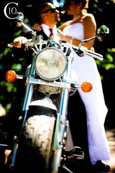 Motorcycle Wedding shot, I love this we should do this with Corey's bike