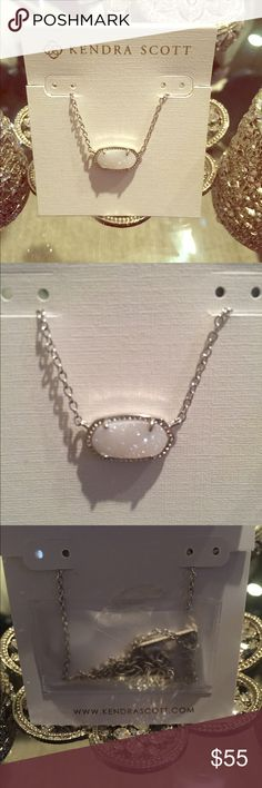 Kendra Scott Necklace For anyone who knows me... I never know the name of these stones. But it's an Elisa necklace with a beautiful white sparkly stone. It's never been worn. I have one in gold that I wear all the time. Gorgeous!!!! Jewelry Necklaces