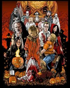 """Horror Movie Art : """"Trick r' Treat"""" by Nathan Thomas Milliner Horror Movie Characters, Best Horror Movies, Horror Show, Horror Movie Posters, Scary Movies, Trick R Treat 2007, Sam Trick R Treat, Halloween Movies, Halloween Horror"""