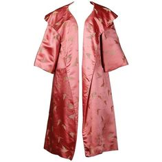 Preowned Dynasty Vintage 1960s Pink Silk Satin Swing Coat With Gold... (25.665 RUB) ❤ liked on Polyvore featuring outerwear, coats, jackets, pink, collar coat, vintage swing coat, vintage coats, red swing coat and vintage red coat