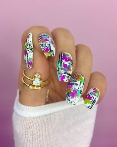 Nails / Nail Art - Click link below this photo for full description ©-ig: @ldnailsxo - - Gold Opal Rings are from Indigolune