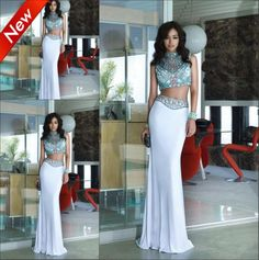 Find More Prom Dresses Information about Vestidos De Fiesta New Arrival Mermaid Dress Beaded Chiffon Slim High Collar Long Sexy Two Pieces Flower Length  Prom Dress 2014,High Quality dress up plain dress,China dress long sleeve tunic dress Suppliers, Cheap dress wallet from party  Queen Fashion Store on Aliexpress.com
