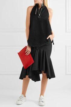 Facetasm - Ruffled Wool-crepe Midi Skirt - Black - 1