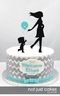 Chevron and Balloon Baby Shower Cake with different topper