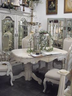 Shabby chic table, chairs, cabinet