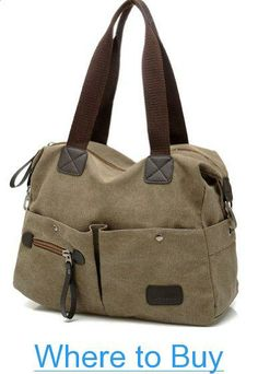 Buenocn Canvas Large Capacity Sports Bag Handbag Tote Bag Khak for Men $ Women SH262