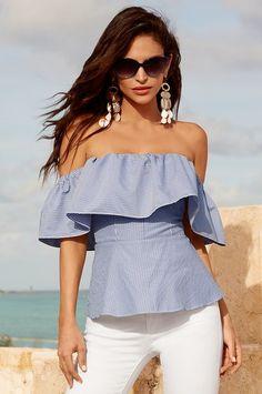 Stripe flutter overlay blouse