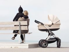 Modern and Scandinavian Designed All Terrain Stroller for Baby and Kids –Stokke Trailz Stroller pictured with Newborn Baby Carry Cot Accessory