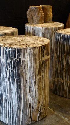 Tronc de bois pétrifié gris - Mon Chalet Design