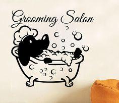 Grooming Salon Wall Decal Vinyl Dog Comb Scissors Pet Shop Stickers Decor SM21
