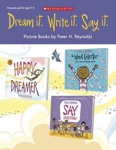 Worksheets and activities to inspire and encourage creativity and community-building - a companion guide to Peter H. Reynolds' picture books The Word Collector, Say Something!, and Happy Dreamer! Community Building, Community Art, Reading Resources, Teacher Resources, 3rd Grade Reading, Picture Books, The Dreamers, School Ideas, Worksheets