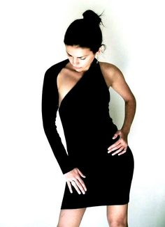 Unique Black One Shoulder Dress Donation to by marcellamoda