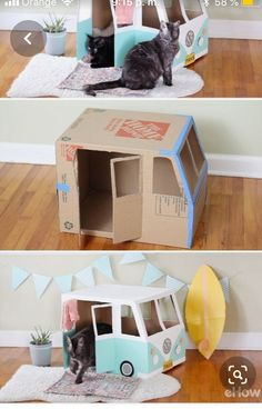 tu gato podra ser una chica vsco cat girl petspielzeug ihre… You … Diy Cat Toys, Pet Toys, Kitten Toys, Cardboard Cat House, Cardboard Bus, Cat House Diy, Cat Playground, Cat Room, Pet Furniture