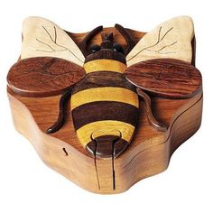 Bee - Secret Wooden Puzzle Box TheHandcrafted