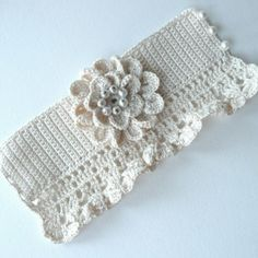 Items similar to Cuff Elegant Silk Flower Faux Pearls Wedding Ecru Hand Crochet on Etsy - Oktoberfest Yarn Bracelets, Crochet Beaded Bracelets, Crochet Necklace, Crochet Wrist Warmers, Crochet Gloves, Hand Crochet, Knit Crochet, Crochet Designs, Crochet Patterns
