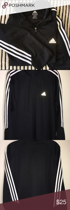 Adidas sweat shirt Men's XL black with white stripes and mid zip up Adidas Sweaters Zip Up